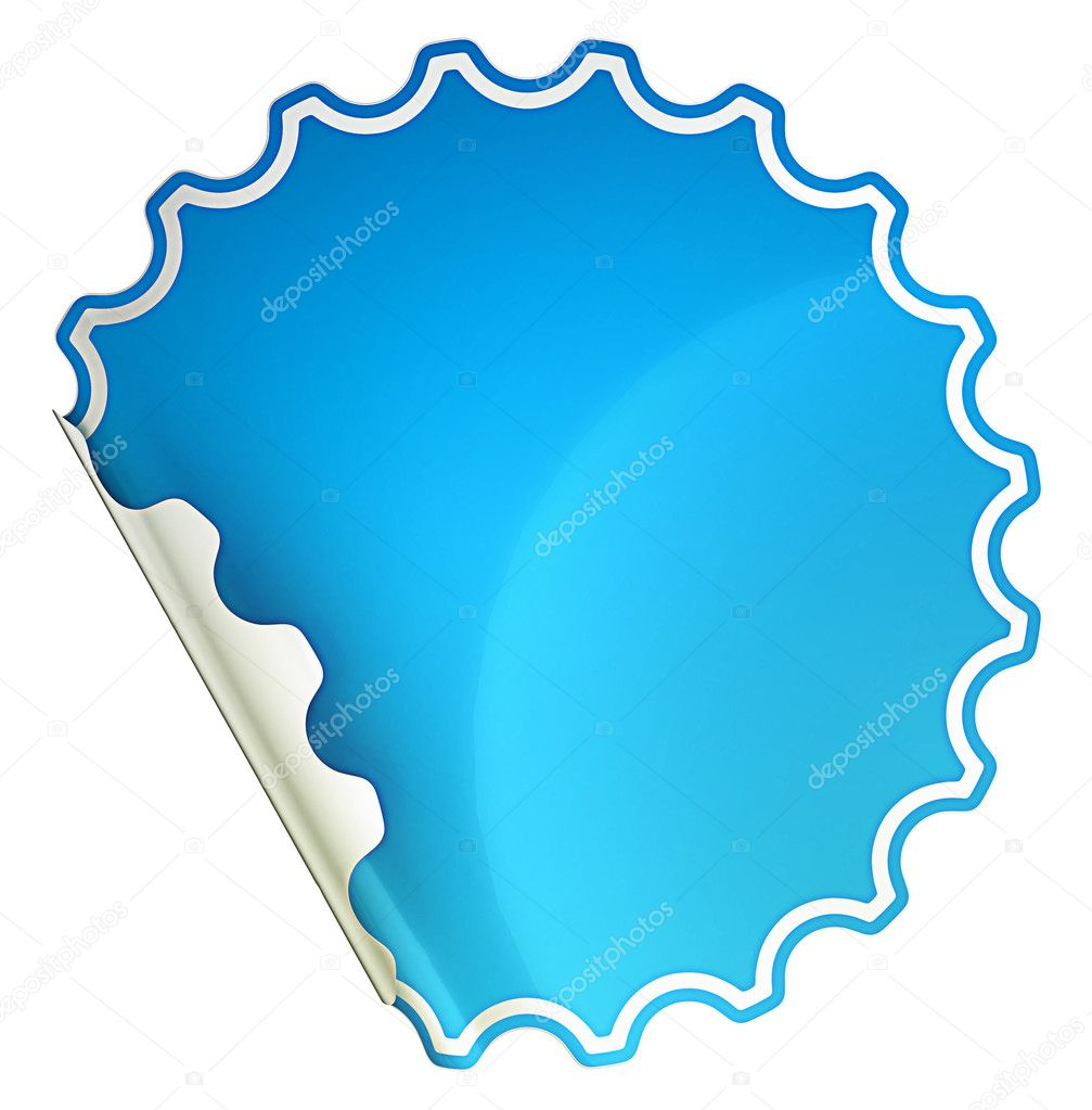 Blue bent round sticker or label over white background — Stock Photo #6784312