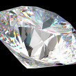 Round diamond: top side view isolated - Foto Stock