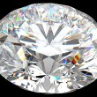 Top side view of large round diamond isolated - Foto Stock