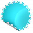 Blue bent round sticker or label — Stock Photo