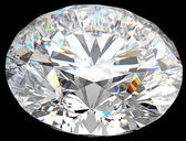 Top side view of large round diamond isolated — Stock Photo