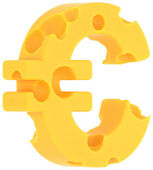 Cheeze font euro currency sign isolated — Stock Photo