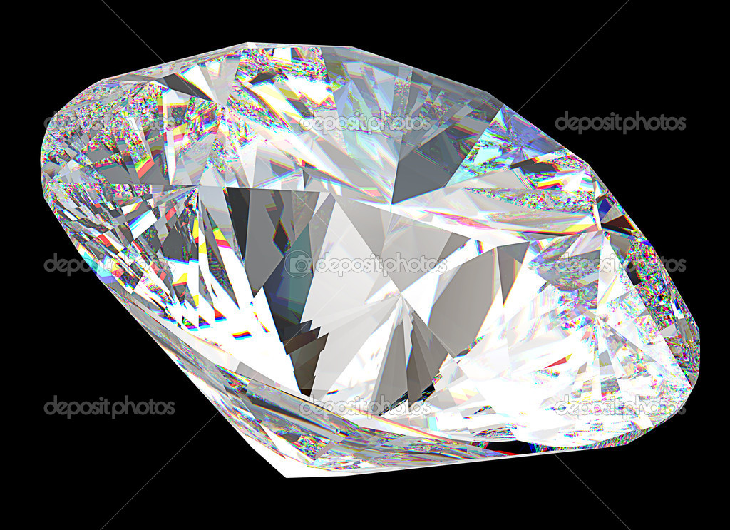 Round diamond: top side view isolated on black — Stock Photo #6848393