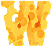 Cheeze font W letter isolated on white — Stock Photo