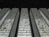 Downtown in the twilight: Abstract skyscrapers — Стоковое фото