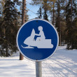 Stock Photo: Snow mobile traffic sign