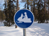 Snow mobile traffic sign — Stockfoto