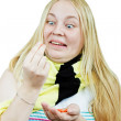 Crazy girl with pills — Stock Photo #7581785