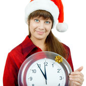 Santa girl with the clock — Stock Photo
