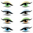 Vector set. Eyes of different colors — Stock Vector