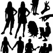 Set of different silhouettes — Stock Vector
