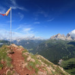 Mountain peak with flag — Stock Photo #7200798