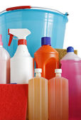 Detergents sponges and bucket — Stock Photo