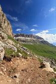 Pordoi pass and Sella mountain — Stock Photo