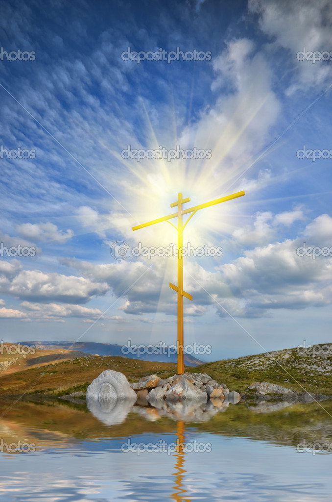 Christian cross on a mountaintop. mountain landscape — Stock Photo #6839098