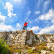 Man on the mountain top — Stock Photo