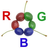 RGB uncommon cherries — Stock Photo