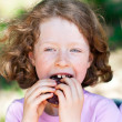 The girl with a sandwich — Stock Photo