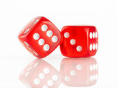 Red and white dices — Stock Photo