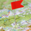 Push pin in a map — Stock Photo #7520736