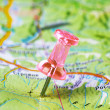 Push pin in a map — Stock Photo