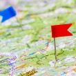 Push pin in a map — Stock Photo #7521266