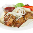 Kebab with sause — Stock Photo