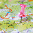 Push pin in a map — Stock Photo #7521541
