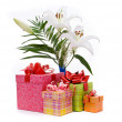 beautiful bouquet of white lilies and present box on a white bac — Stock Photo #6974092