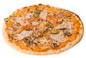 Pizza with sauce, cheese, ham, sausage, tomato, pork, mushrooms, — Stock Photo