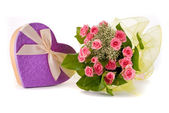 Beautiful Roses bouquet and present box on white background — Stock Photo