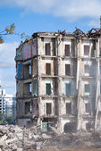 Demolition of building in smoke — Stock Photo