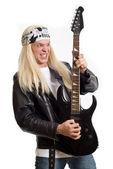 Beyaz zemin üzerinde rock star gitarist — Stok fotoğraf