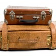 Old suitcases isolated on a white background — Stock Photo