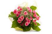 在白色背景上的美丽的玫瑰花束 — 图库照片