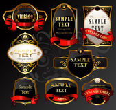 Vector set: black gold labels — Stock Vector