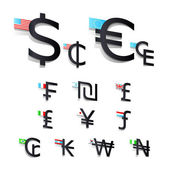 Set International currency symbols and flags — Stock Vector