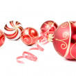 Christmas baubles over a white background — Stock Photo #7808537