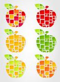 La manzana es dividida en cuadrados. — Vector de stock