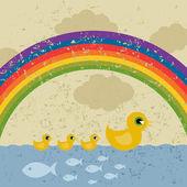 鴨とアヒルの子は水に浮く. — ストックベクタ