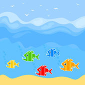 Fishes predators float in the sea. — Stock Vector