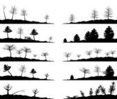 森の風景のセット. — ストックベクタ