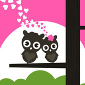 Two owls have fallen in love and sit on a tree. — Stock Vector