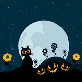 Cat at night against the moon. — Stock Vector