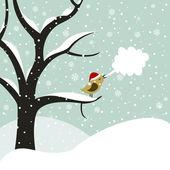 Ptaszek na drzewie w boże narodzenie. — Wektor stockowy