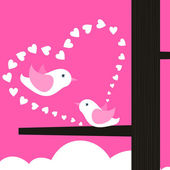 Two birds sing about love. — Stock Vector
