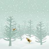 鳥は冬の木で歌う. — ストックベクタ