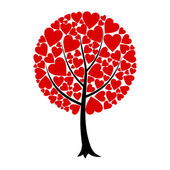 Tree of love from red hearts. — ストックベクタ