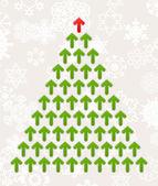 Kerstboom van groene pijlen. — Stockvector