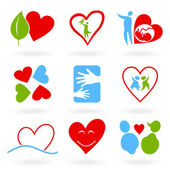 Set of icons on a love theme. — Stock Vector